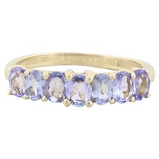 10k Yellow Gold Natural Tanzanite Band Ring Size 5 3/4