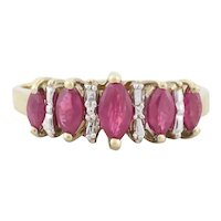 10k Yellow Gold Natural Ruby Ring with White Gold Illusion Diamond Setting Size 6 3/4