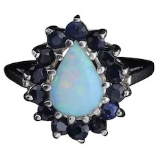 14k White Gold Natural Opal and Sapphire Ring Size 6