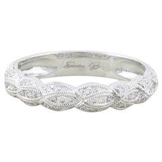 14k White Gold Diamond Band Ring Stackable Size 6 1/2 Sandra Biachi