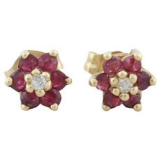 14k Yellow Gold Natural Ruby and Diamond Earrings Flower Stud Post Earrings