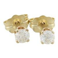14k Yellow Gold Diamond Stud Post Earrings .25 tcw