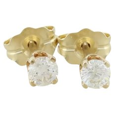 14k Yellow Gold Diamond Stud Post Earrings .25 tcw