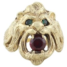 Men's Lion Ring 10k Yellow Gold with Lab Created Emerald Eyes and Ruby Mouth Ring size 6 1/4