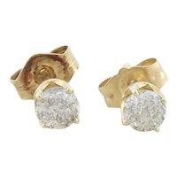 14k Yellow Gold Natural Diamond Stud Post Earrings 1/4 tcw