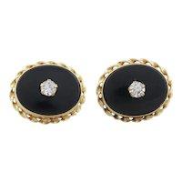 14k Yellow Gold Onyx and Cz Earrings Stud Post Earrings