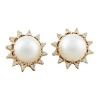 14k Yellow Gold Mabe Pearl and Diamond Halo Earrings Stud Post Earrings