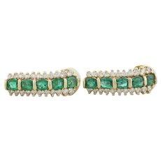 14k Yellow Gold Natural Emerald and Diamond Earrings J Hoop Earrings