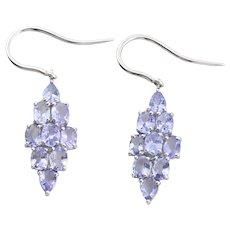 10k White Gold Natural Tanzanite Earrings Dangle Drop Earrings
