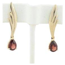 14k Yellow Gold Natural Garnet Earrings Dangle Drop Earrings