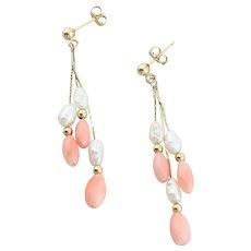 14k Yellow Gold Angel Skin Coral and Pearl Earrings Dangle Drop Earrings