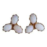 14k Yellow Gold Natural Opal Earrings Stud Post Earrings