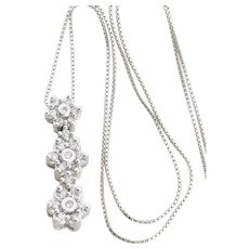 14K White Gold Diamond Flower Necklace with 20 inch chain