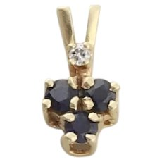 14k Yellow Gold Natural Dark Blue Sapphire and Diamond Pendant Only