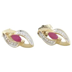 10k Yellow Gold with White Gold Accent Natural Ruby Earrings Stud Post Earrings