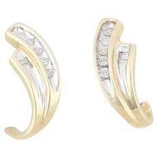 10k Yellow Gold Diamond Earrings J Hoop Earrings  .25 tcw