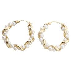 10k Yellow Gold Pearl Earrings Hoop Earrings