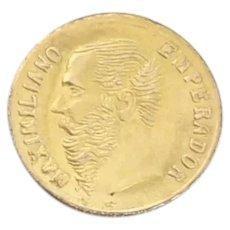 "14K Yellow Gold Mexico Maximiliano Gold Token  Mini Coin 3/8"" Round"
