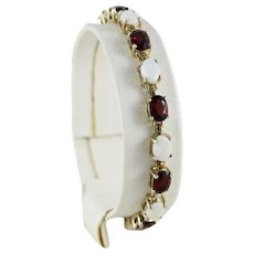 Gold Plated Sterling Silver Opal and Garnet Bracelet Tennis Bracelet 7 inch long