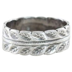 Sterling Silver Leaf Band Ring Size 4 1/2 Infinity Band