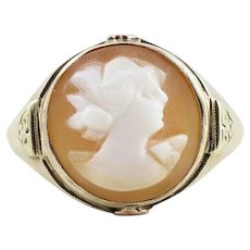 Antique Carved Cameo Shell Ring 10k Yellow Gold Size 5 3/4