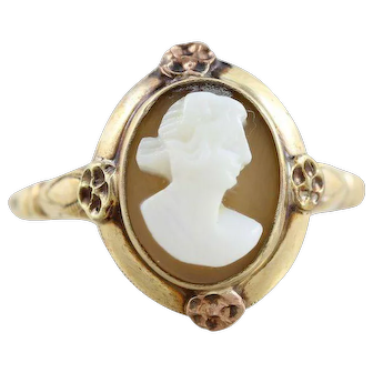 Antique Cameo Shell Ring 10k Yellow Gold Size 6 1/2