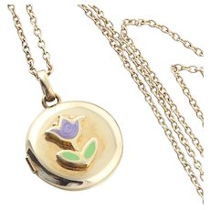 Tulip Locket Necklace 14k Yellow Gold 15 inch Chain