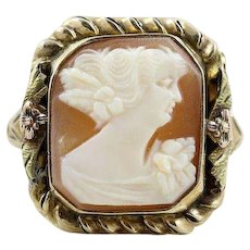 Antique Cameo Shell Ring 10k Yellow Gold  Size 6