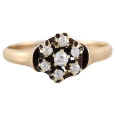 Antique Rose Cut Diamond Ring 10k Yellow Gold Size 8 1/4 Victorian Wedding Ring