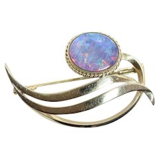 Large Black Opal Pin Brooch 10k Yellow Gold Lots of Fire