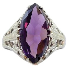 Art Deco Purple Glass Simulated Amethyst Ring 10k White Gold Size 5