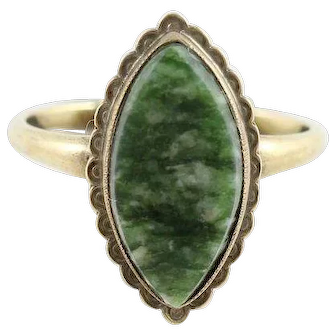 Green Serpentine Agate Ring 10k Yellow Gold  Size 6 1/2