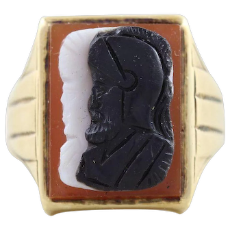 Mens Art Deco Roman Cameo Ring 10k Yellow Gold Size 9.5