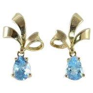 Blue Topaz Bow Earrings 14k Yellow Gold Dangle Drop Earrings
