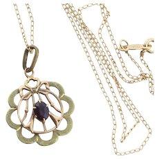 Antique Amethyst Paste Necklace 14k Gold 15 inch chain Victorian