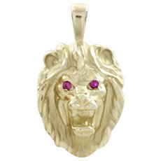 Lion gold pendant jewelry ruby lane 14k yellow gold lion head pendant with ruby eyes aloadofball Choice Image
