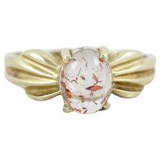 African Fire Quartz Ring 10k Yellow Gold Size 5