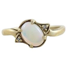 Opal and Diamond Ring 10k Yellow Gold Size 6 1/2