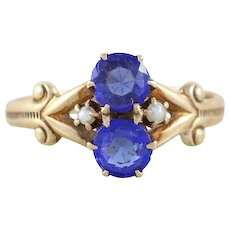 Antique Blue Iolite and Seed Pearl Ring 10k Yellow Gold Size 5 1/2 Victorian