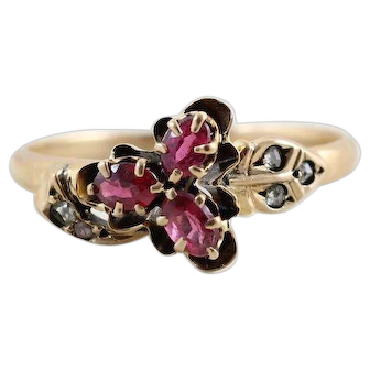 Antique Ruby and Diamond Ring 10k Yellow Gold Size 5 3/4 Victorian Ring