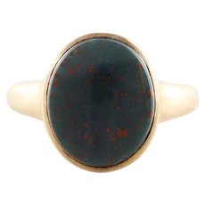 Mens Antique Bloodstone Ring 10k Yellow Gold Size 9 1/4