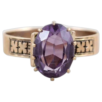 Antique Amethyst Ring 10k Yellow Gold Victorian Ring Size 7 1/4