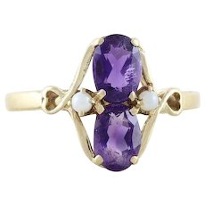 Amethyst and Cultured Seed Pearl Ring 14k Yellow Gold Size 7 1/4