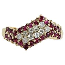 Natural Ruby and Diamond Band Ring 10k Yellow Gold Size 6