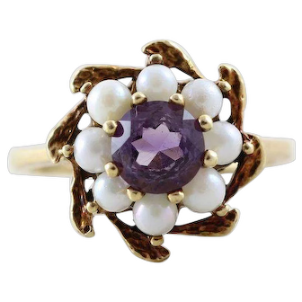 Amethyst and Cultured Seed Pearl Ring 10k Yellow Gold Size 6
