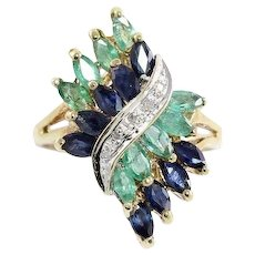 Natural Emerald Sapphire and Diamond Ring 10k Yellow Gold Size 6 3/4
