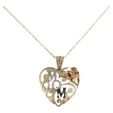10K Black Hills Gold Mom Heart Necklace 18 inch chain Mother's Day Gift