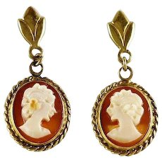 Carved Cameo Shell Earrings 14k Yellow Gold Dangle Drop Earrings