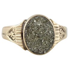 Mens Antique 10k Yellow Gold Pyrite Ring Size 11 Victorian