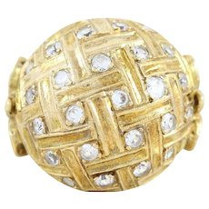 Diamond Dome Ring 14k Yellow Gold Size 8 Dinner Cocktail Ring